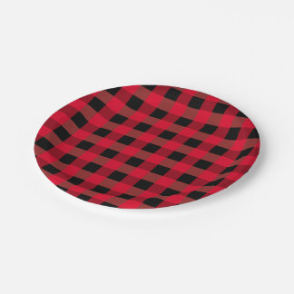 Buffalo plaid paper plate