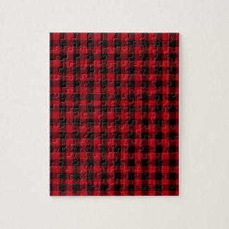 Buffalo Plaid Pattern in Red and Black Jigsaw Puzzle