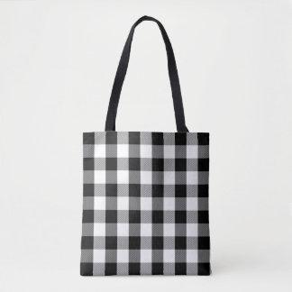 Buffalo Plaid Pattern Modern Black and White Tote Bag