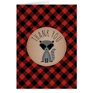 Buffalo Plaid Raccoon Baby Shower Thank You Card