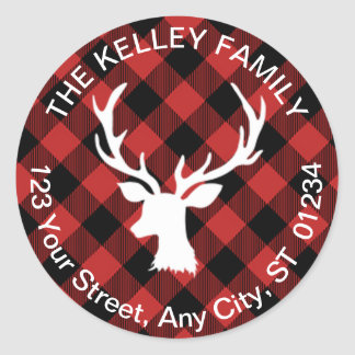 Buffalo Plaid Red and Black Holiday Address Classic Round Sticker
