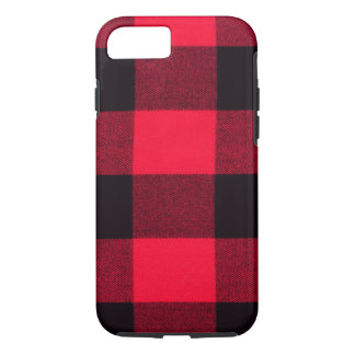Buffalo Plaid, Red & Black Trendy Flannel Inspired iPhone 8/7 Case