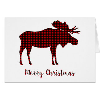 Buffalo Plaid Reindeer Merry Christmas Typography Card