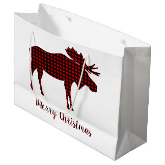 Buffalo Plaid Reindeer Merry Christmas Typography Large Gift Bag