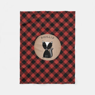 Buffalo Plaid Skunk Kids Fleece Blanket