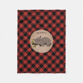 Buffalo Plaid Sleepy Bear Kids Fleece Blanket