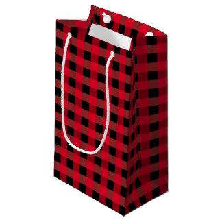 Buffalo plaid small gift bag