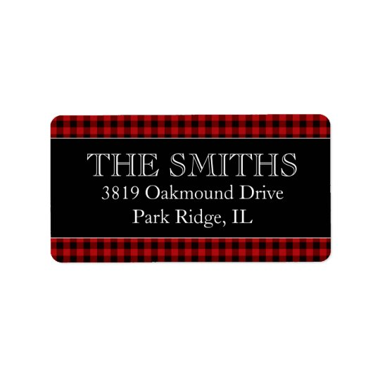 Buffalo Plaid Wedding Return Address Labels