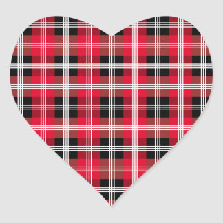 Buffalo plaid with white stripes heart sticker
