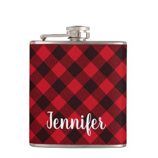 Buffalo Red and black Plaid Winter Christmas Hip Flask