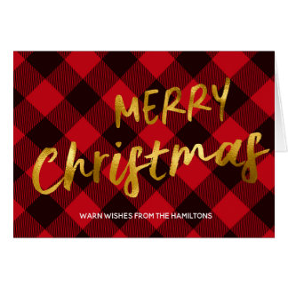 Buffalo Red Plaid and Gold Foil Script Christmas Card