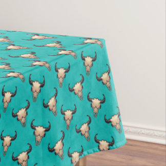 Buffalo Skull Painting on Turquoise Tablecloth
