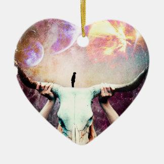 Buffalo Skull Space Cosmos Dream Ceramic Heart Ornament