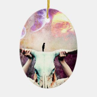 Buffalo Skull Space Cosmos Dream Ceramic Oval Ornament