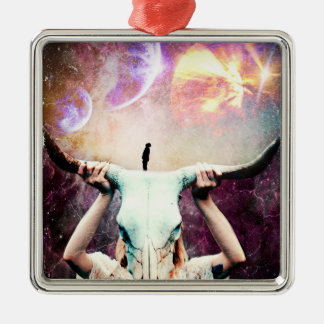 Buffalo Skull Space Cosmos Dream Silver-Colored Square Ornament
