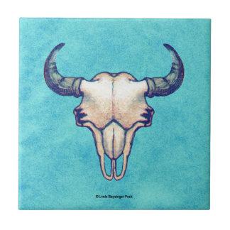 Buffalo Skull Turquoise Faux Parchment Tile