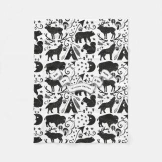 Buffalo, Tepee, Bows and Arrows, Feathers Hatchets Fleece Blanket