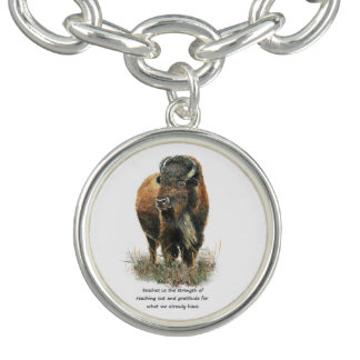 Buffalo totem Inspirational Animal Spirit Guide Charm Bracelet