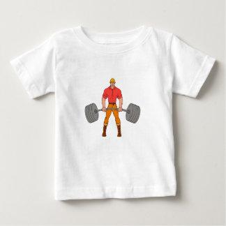 Buffed Lumberjack Lifting Weights Cartoon Baby T-Shirt