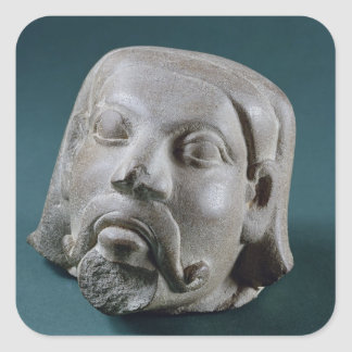 Buffed sandstone head of a foreigner, Sarnath, 3rd Square Sticker