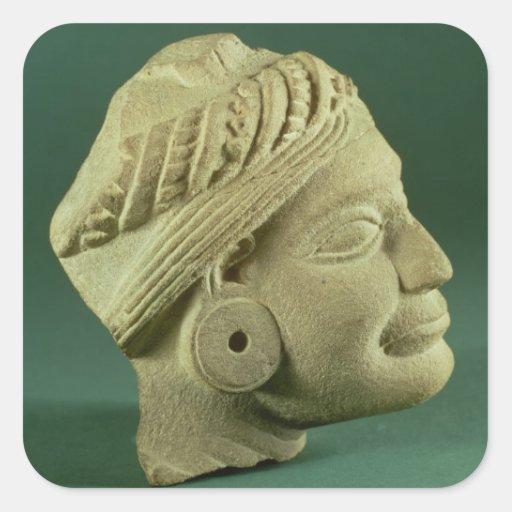 Buffed sandstone turbaned head, Sarnath, 3rd centu Square Sticker