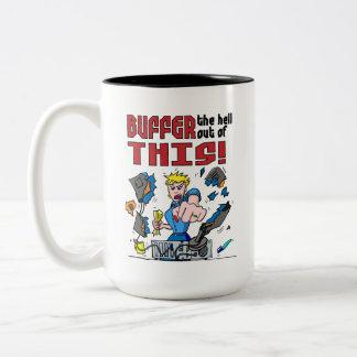 Buffer that! Computer Rage Two-Tone Coffee Mug