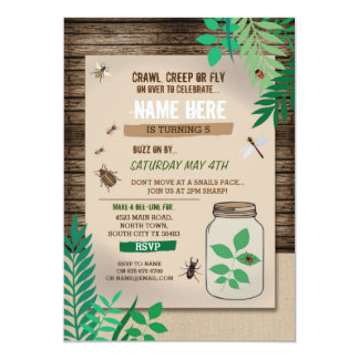 BUG CATCHER SCAVENGER HUNT KIDS BIRTHDAY PARTY CARD