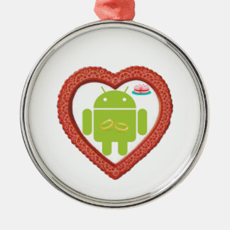 Bug Droid Heart (Love) Two Gold Rings Pink Cake Metal Ornament