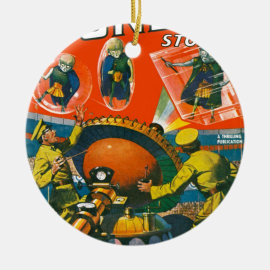 Bug Eyed Aliens in Capes Ceramic Ornament