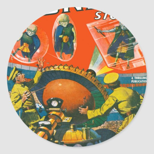 Bug Eyed Aliens in Capes Classic Round Sticker