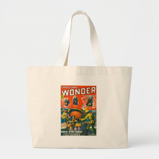 Bug Eyed Aliens in Capes Large Tote Bag