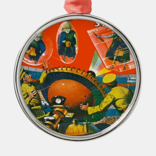 Bug Eyed Aliens in Capes Metal Ornament