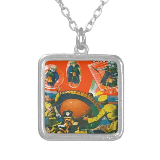 Bug Eyed Aliens in Capes Silver Plated Necklace