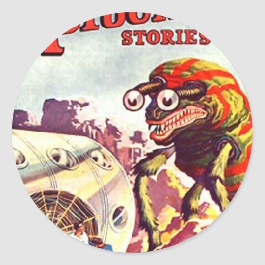 Bug Eyed Moon Monster Classic Round Sticker