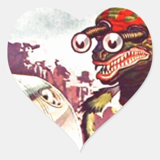 Bug Eyed Moon Monster Heart Sticker