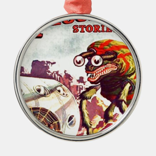 Bug Eyed Moon Monster Metal Ornament