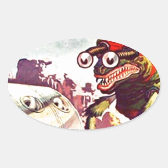 Bug Eyed Moon Monster Oval Sticker