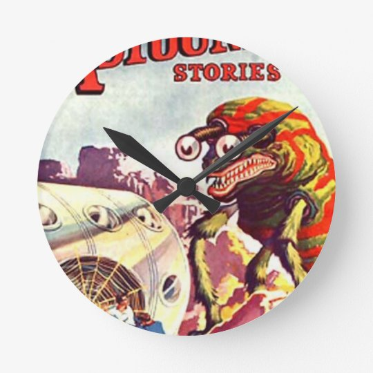 Bug Eyed Moon Monster Round Clock