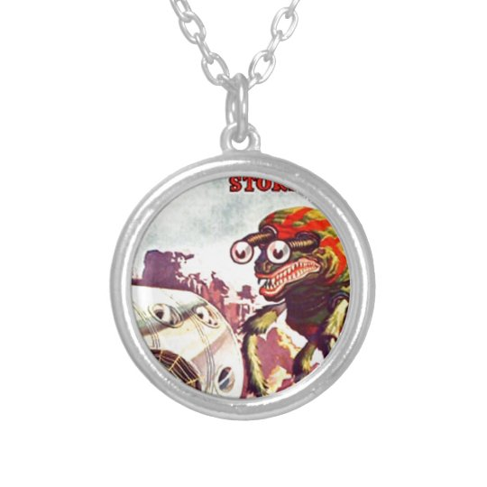 Bug Eyed Moon Monster Silver Plated Necklace