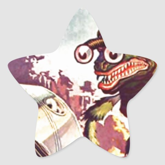 Bug Eyed Moon Monster Star Sticker