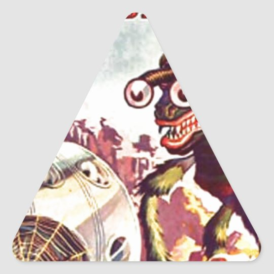 Bug Eyed Moon Monster Triangle Sticker