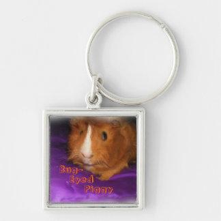 Bug-Eyed Piggy Guinea Pig Keychain