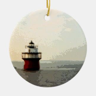 Bug Light Duxbury Pier Lighthouse Round Ceramic Ornament