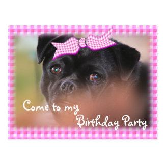 Bug-Puppy Pk Plaid Postcard-Invitation-customize Postcard