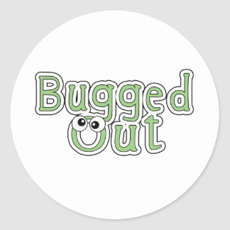 bugged out word round sticker
