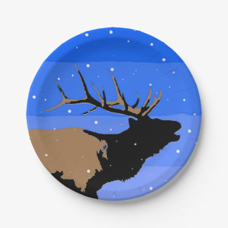 Bugling Elk in Winter 7 Inch Paper Plate