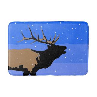 Bugling Elk in Winter Bath Mat