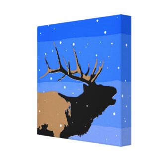 Bugling Elk in Winter Canvas Print
