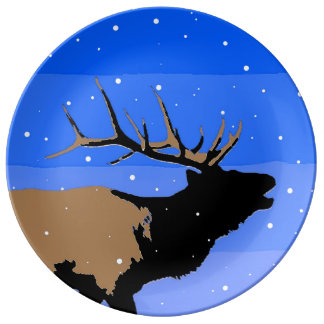 Bugling Elk in Winter Porcelain Plates
