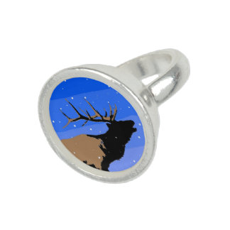 Bugling Elk in Winter Rings